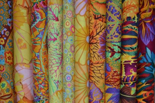 Lot de 10 coupons Patchwork Kaffe Fassett  oranges et jaunes - 24x27cm