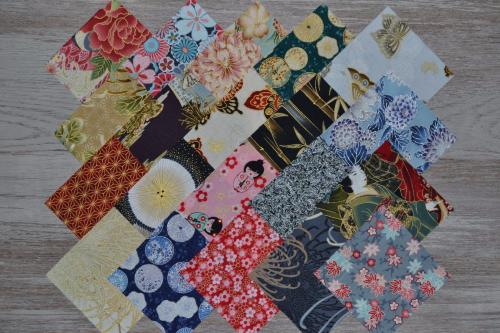 Lot de 20 Coupons de Tissus Patchwork Japonisants