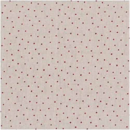 Tissu Lin - Petits Pois Rouge Foncé - Collection Shabby Chic