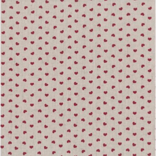 Tissu Lin - Petits Coeurs Rouges - Collection Shabby Chic