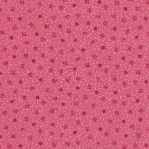 Tissu Makower Trinkets Dotted Square Rose - Tons sur tons