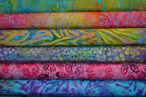 Tissus Batik Multicolores  – Lot de 6 coupons patchwork été