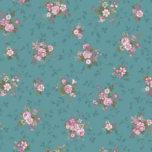 Tissu Patchwork Stof Shabby Juliet Roses –  petites bouquets fond turquoise